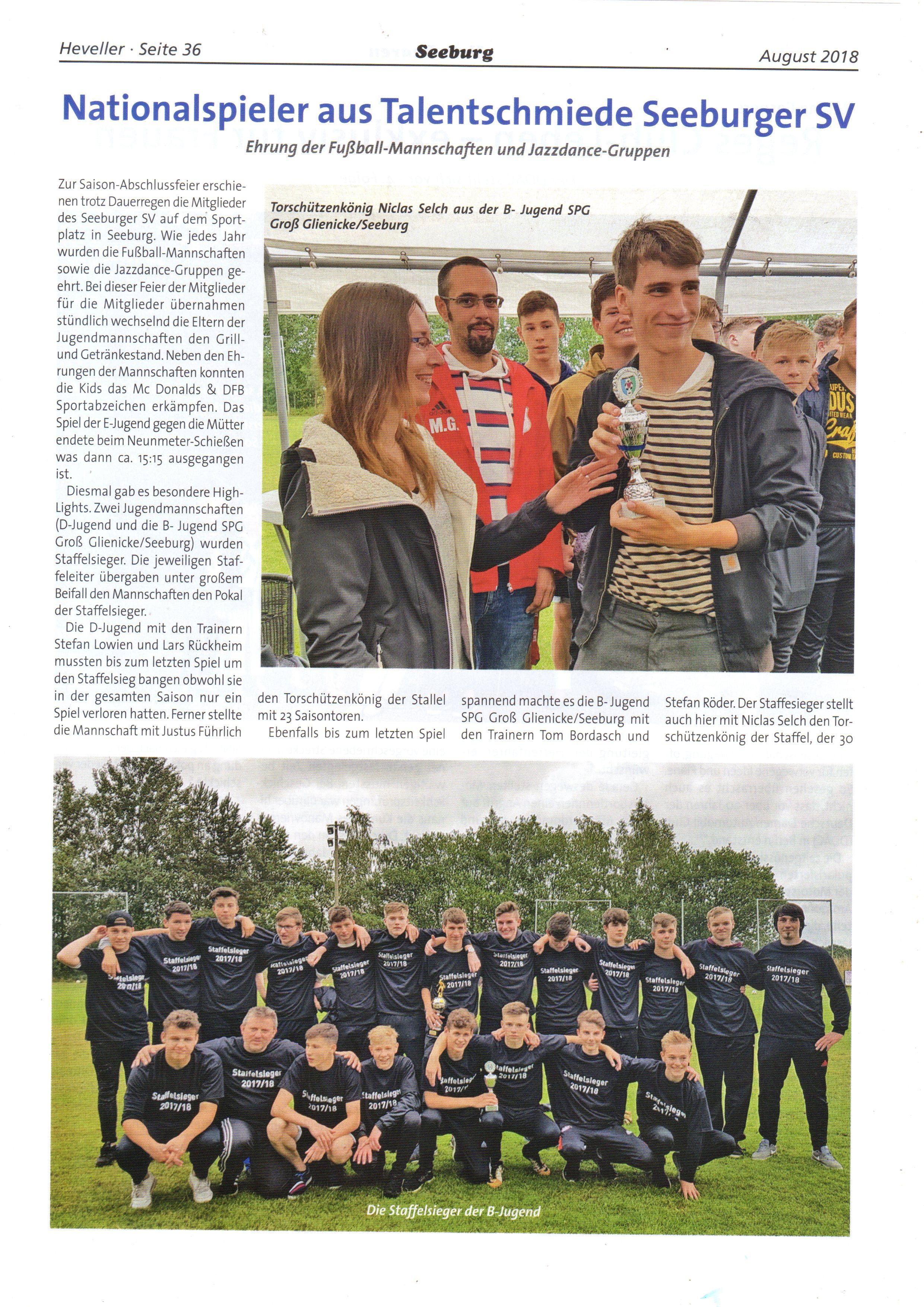 Bericht über den Saisonabschluss des Seeburger SV durch den Heveller