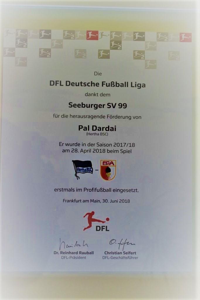 Dankesurkunde von der DFL